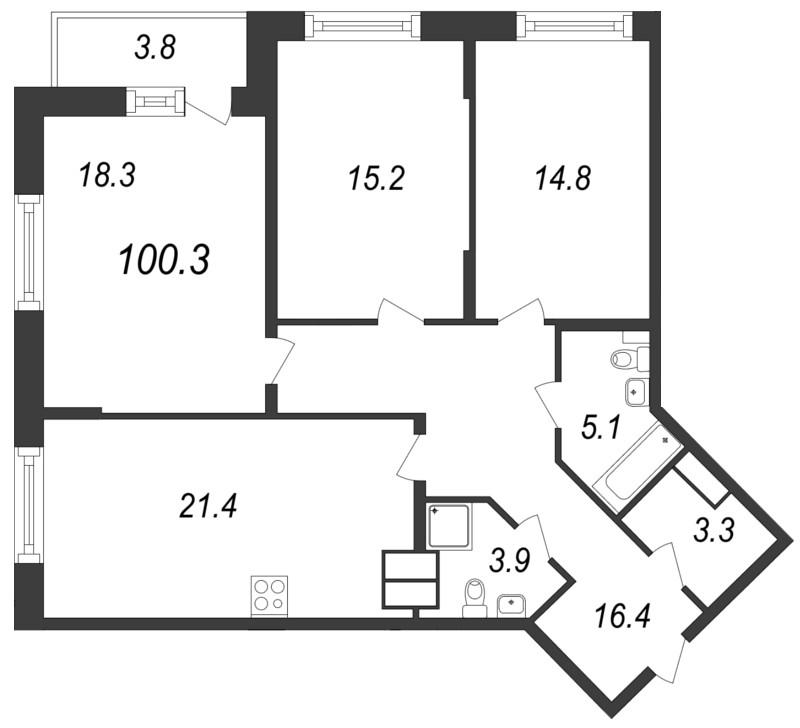 Планировка Трёхкомнатная квартира площадью 100.3 кв.м в ЖК «Московские ворота»