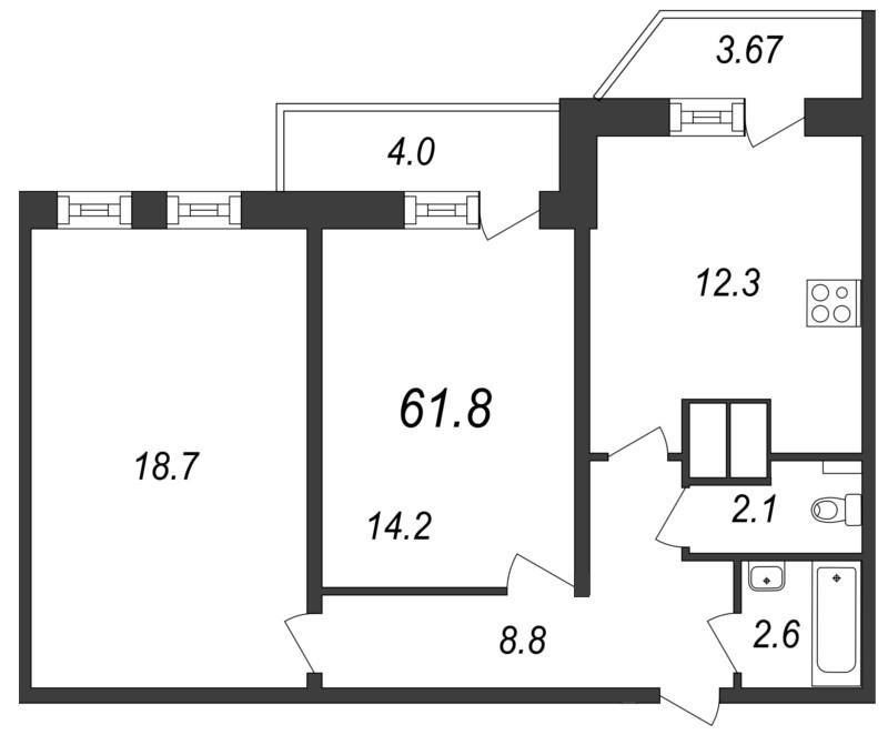 Планировка Двухкомнатная квартира площадью 61.8 кв.м в ЖК «Московские ворота»
