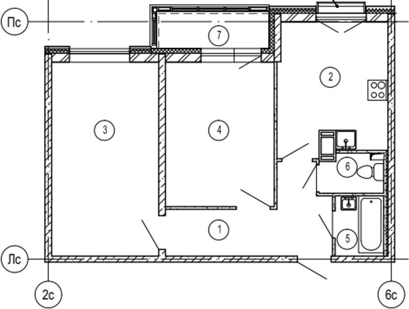 Планировка Двухкомнатная квартира площадью 60.8 кв.м в ЖК «Московские ворота»