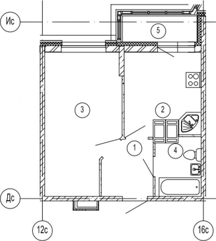 Планировка Однокомнатная квартира площадью 36.4 кв.м в ЖК «Московские ворота»