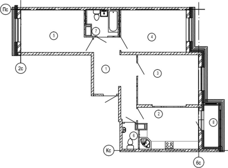 Планировка Трёхкомнатная квартира площадью 89.2 кв.м в ЖК «Московские ворота»
