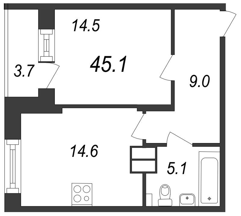Планировка Однокомнатная квартира площадью 45.1 кв.м в ЖК «Московские ворота»