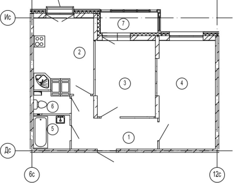 Планировка Двухкомнатная квартира площадью 57.1 кв.м в ЖК «Московские ворота»