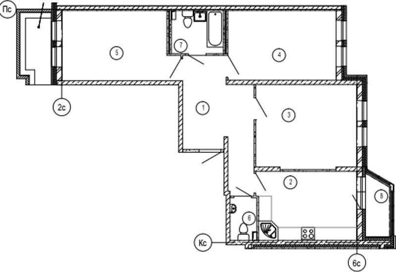 Планировка Трёхкомнатная квартира площадью 89.6 кв.м в ЖК «Московские ворота»