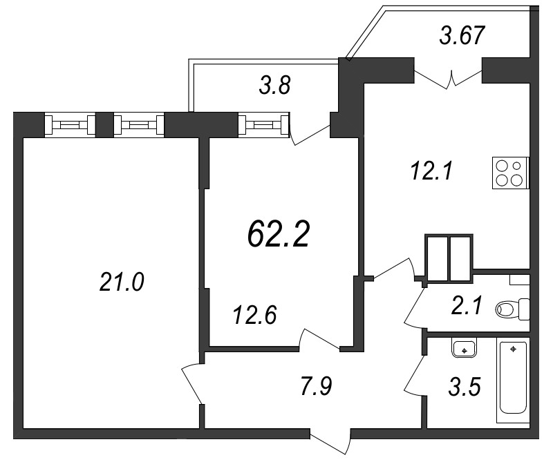Планировка Двухкомнатная квартира площадью 62.2 кв.м в ЖК «Московские ворота»