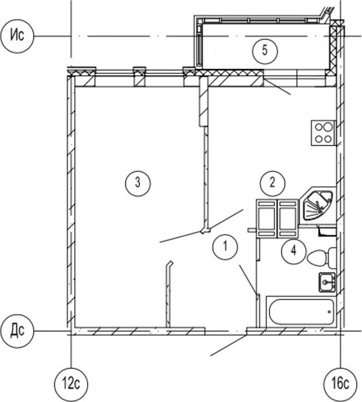 Планировка Однокомнатная квартира площадью 36.6 кв.м в ЖК «Московские ворота»