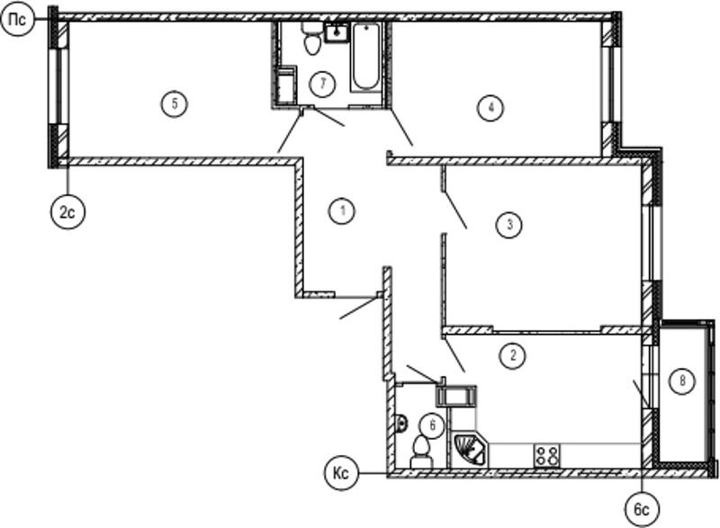 Планировка Трёхкомнатная квартира площадью 89.8 кв.м в ЖК «Московские ворота»