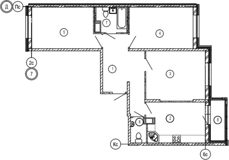 Планировка Трёхкомнатная квартира площадью 90.2 кв.м в ЖК «Московские ворота»